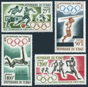 Chad C15-C18,MNH.Michel 120-123. Olympics Tokyo-1964.Soccer,Javelin,High jump,