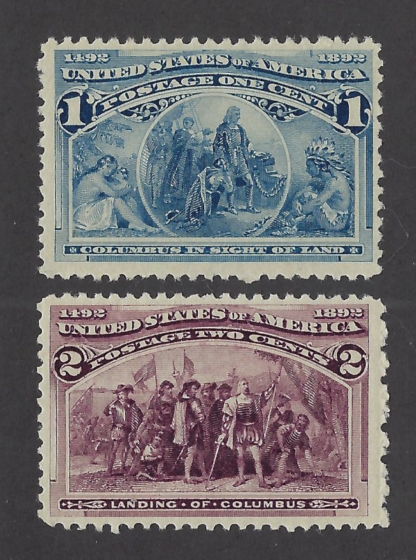 United States Scott 230-231 1¢ and 2¢ Columbian Expo Mint Never Hinged Fine