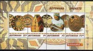 Botswana 2001 Handicraft Basket Art Culture Art Cultures Costumes M/S Stamps MNH