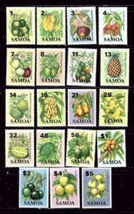 Samoa 600-18 MNH 1983-84 Definitive Set (Local Fruit)