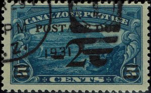 CANAL ZONE #J22 1930 2c SURCHARGE ON 5c CANAL ZONE REGULAR ISSUE--USED