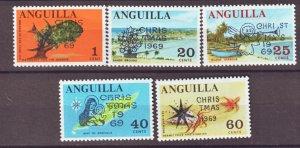 J22387 Jlstamps 1969 anguilla set mnh #78-82 ovpt,s