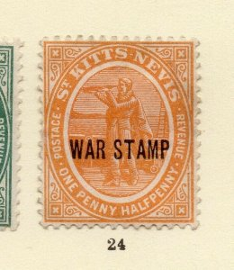 St Kitts Nevis 1918 Early Issue Fine Mint Hinged 1.5d. War Optd NW-170446