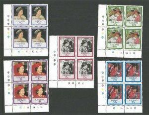 1987 Scouts Kiribati Girl Guides QE II wedding overprint plate blocks