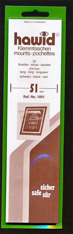 Hawid Stamp Mounts Size 51/210 BLACK Background Pack of 25