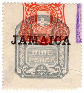 (I.B) Jamaica Revenue : Duty Stamp 9d (die D)