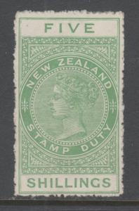 New Zealand Sc AR36, SG F135 MLH. 1925-30 5sh yellow green Postal Fiscal, Cowan