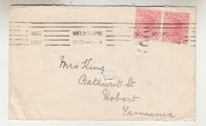 VICTORIA, 1907 Tatt's cover, 1d. pair, MELBOURNE machine to Mrs. King, Hobart.