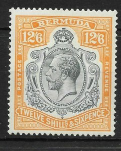 BERMUDA SG93e 1932 12/6 GREY & ORANGE BREAK BELOW LEFT SCROLL VAR MTD MINT