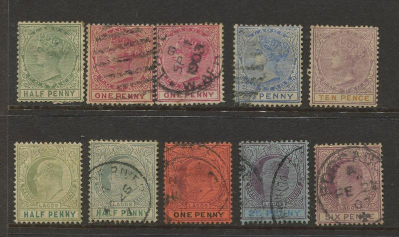Lagos - Scott Various- QV & KEVII DefinitiveS -1935 - MH/FU - Selection 11 Stamp