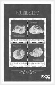 Stamps 2018 Caribbean Netherlands - Shells Black/White - (Saba) - Miniature Shee