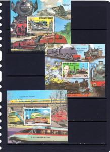Djibouti 1981 Trains/TGV/962Japan 3 S/S Perf.MNH Sc#525/527