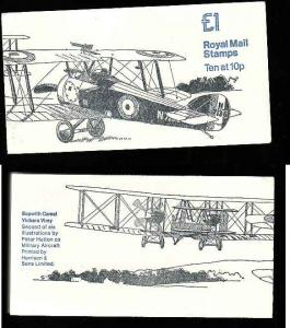Great Britain BK404-1 pound complete NH booklet #2-Planes-Sopwith Camel-