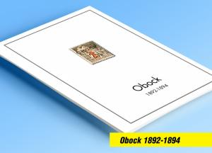 COLOR PRINTED OBOCK 1892-1894  STAMP ALBUM PAGES (5 illustrated pages)