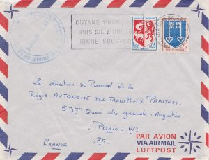 French Guiana France Auch Arms and 25c Mont-de-Marsan Arms 1967 Cayenne R.P.,...