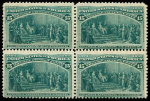 momen: US Stamps #238 Mint OG NH Block of 4 F/VF