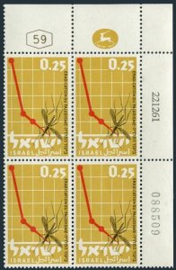 Israel 218 plate block/4,MNH.Michel 253. WHO drive to eradicate Malaria,1962.