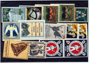 Germany Danzig Leipzig Berlin Early Poster Labels MNH MH Unused x 14 (NT 3063s