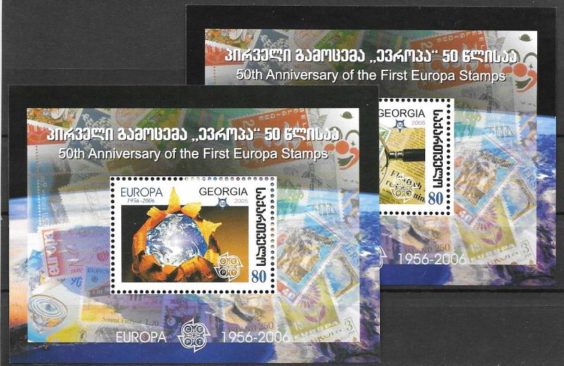 ### GEORGIA MNH SET 2005 FIRST EUROPA STAMPS MINI SHEETS