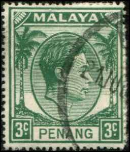 Malaya - Penang  SC# 5  SG# 5 George VI 3c Used