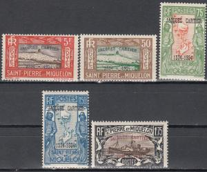St Pierre Miquelon, Sc # 160-164, MNH, 1934, 400th Anniv. of Cartier Landing