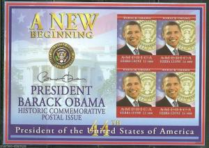 SIERRA LEONE  IMPERFORATED PRESIDENT BARACK OBAMA  SHEET  SC#2929 MINT NH
