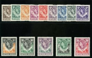Northern Rhodesia 1953 QEII set complete superb MNH. SG 61-74. Sc 61-74.