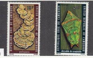 CAMEROON # 607-608 VF-MNH 15,40f 1975  TREE FUNGUS / CHRYSALIS CAT VALUE $210