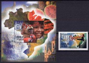 Chile 2000 Brazil 500th/Butterflies/Parrots-Fruits-Map  Set+S/S Sc#1331/1332 MNH