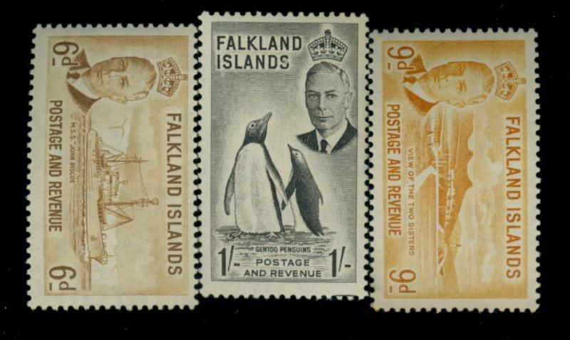 Falkland Islands #113,114,120 MINT FVF OG LH Cat$64