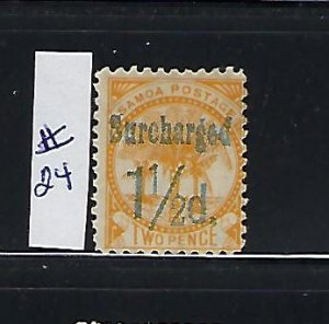 SAMOA SCOTT #24B 1895 1/2P ON 2P  (ORANGE) -  MINT HINGED