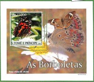 A0544 - S. TOME' & PRINCIPE -  ERROR  MISSPERF SHEET -  Butterflies  2004