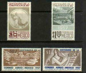 MEXICO 901-902, C239-C240, CENTENARY OF THE 1857 CONSTITUTION. MINT NH F-VF