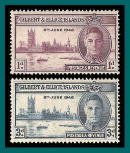 Gilbert & Ellice Islands 1946 Victory, MLH #52-53,SG55-SG56