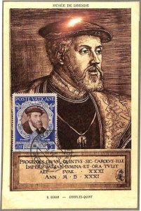 90081 - VATICAN - Postal History - MAXIMUM CARD: CHARLES V Religion ROYALTY 1947