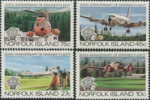 Norfolk Island 1983 SG304-307 Manned Flight set MLH