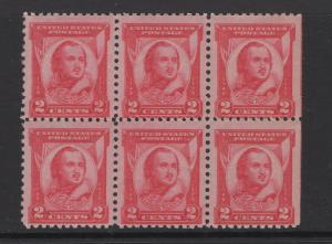 United States 1931 General Casimir Pulaski Block of 6 Stamps Scott 690 MNH