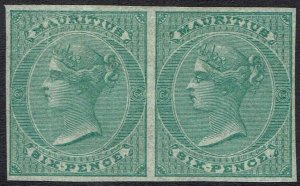MAURITIUS 1862 QV 6D IMPERF IMPRIMATURE PROOF PAIR NO WMK WITH CERTIFICATE