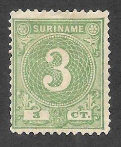 SURINAM Scott #20 Mint gummed 3c Numeral stamp 2017 SCV $5.75+