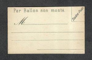 France Par Ballon Non Monte Scarce Unused Postal Card Genuine