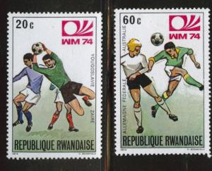 RWANDA Scott 578 & 581 MNH** soccer stamps