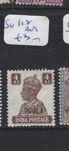 INDIA PATIALA  (P1012B) KGVI  4A  SG 112    MOG