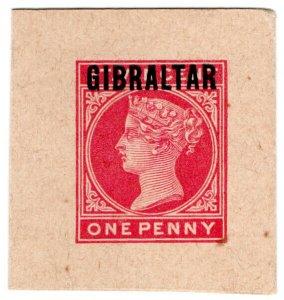 (I.B) Gibraltar Postal : St Vincent Overprint 1d (postal stationery die)