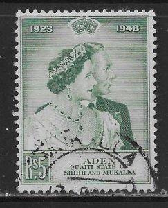 Aden Quaiti State of Shihr and Mukalla 15 5r Silver Wedding Used