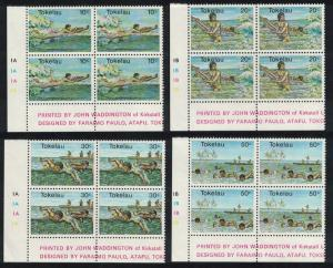 Tokelau Swimming Water Sports 4v Corner Blocks of 4 SG#73-76 SC#73-76