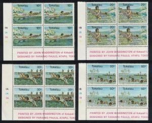 Tokelau Swimming Water Sports 4v Corner Blocks of 4 SG#73-76 SC#73-76