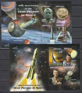 Grenada, Scott cat. 3808-3809. 1st Man in Space, Yuri Gagarin, 2 sheets of 4. ^