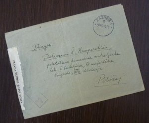 Yugoslavia 1945 Croatia Serbia Censored Cover Sent from Zagreb B2