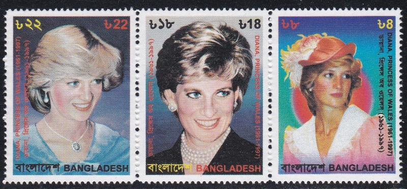 Bangladesh # 570, Princess Diana Strip of Three Different, NH 1/2 Cat.
