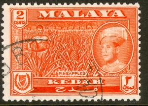 MALAYA KEDAH 1959-62 2c PINEAPPLES Issue Scott 96 VFU